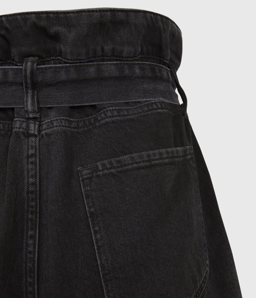 Women's Hannah Paperbag Denim Shorts (washed_black) - Image 4