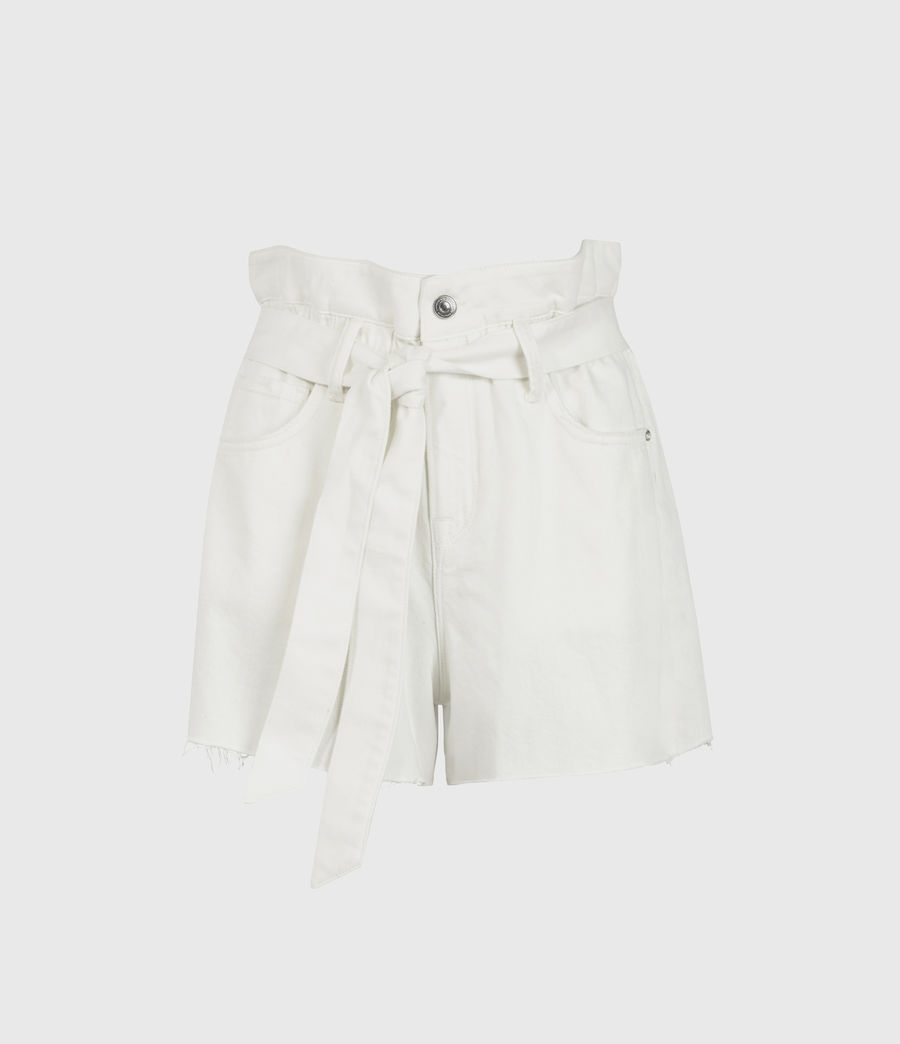 Womens Hannah Paperbag Denim Shorts (white) - Image 2