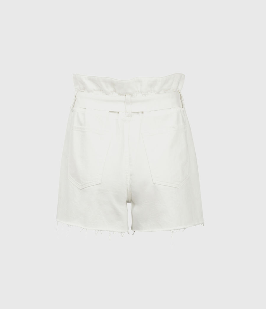 Donne Hannah Paperbag Denim Shorts (white) - Image 3