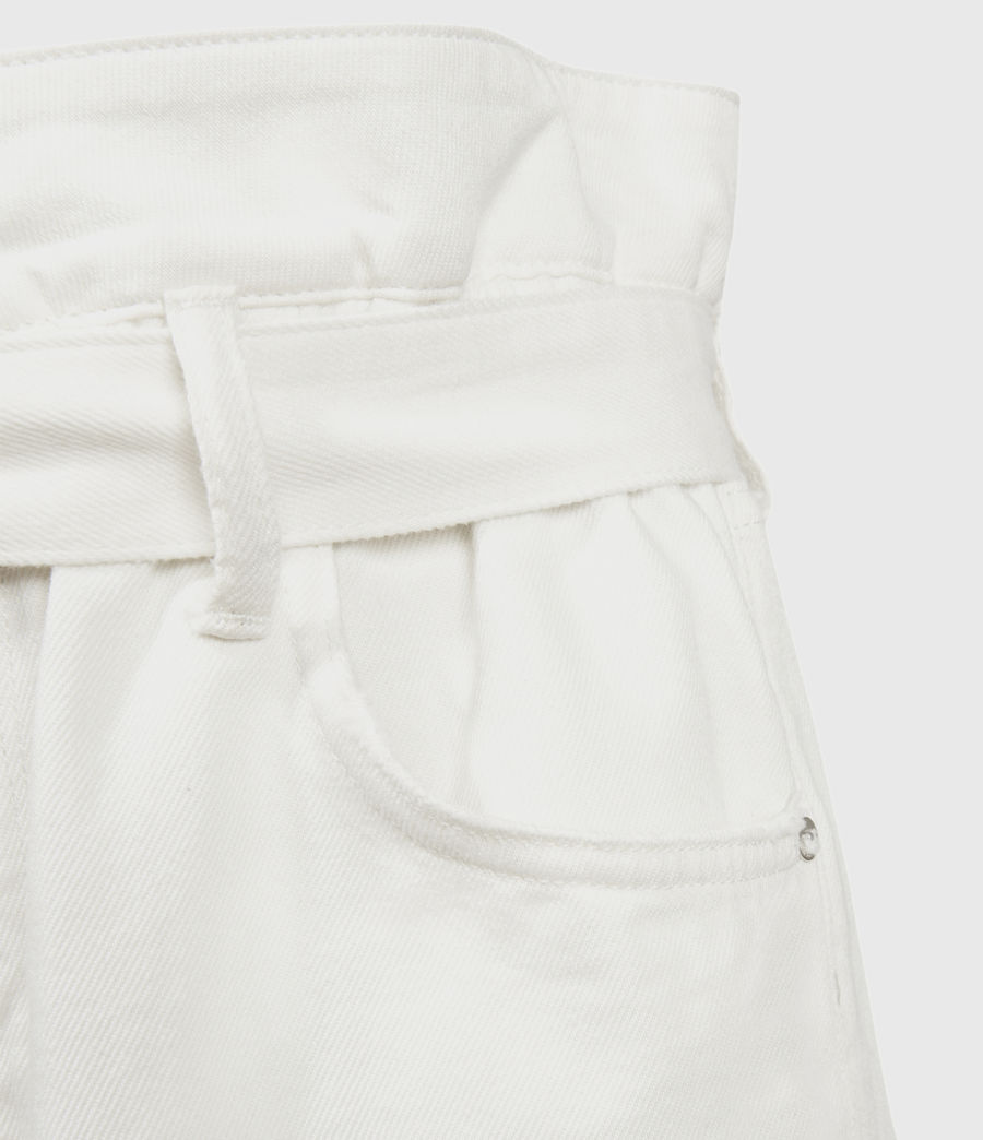 Womens Hannah Paperbag Denim Shorts (white) - Image 5