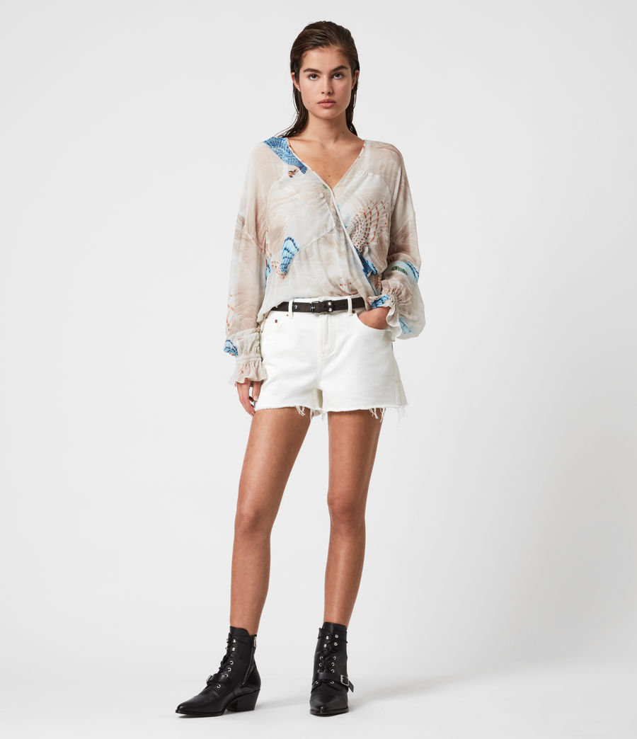 Donne Serene Mid-Rise Denim Shorts (white) - Image 1