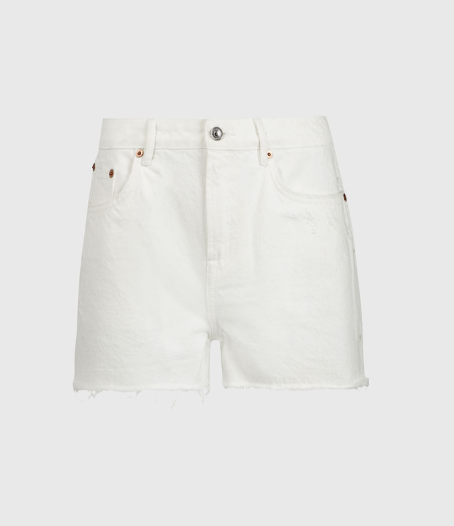 Donne Serene Mid-Rise Denim Shorts (white) - Image 2