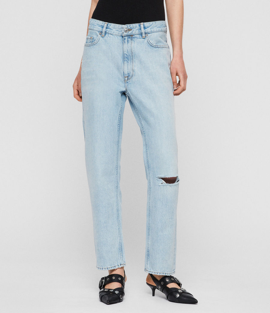 Womens Marley Boyfriend High-Rise Ripped Jeans, Sky Blue (sky_blue) - Image 1