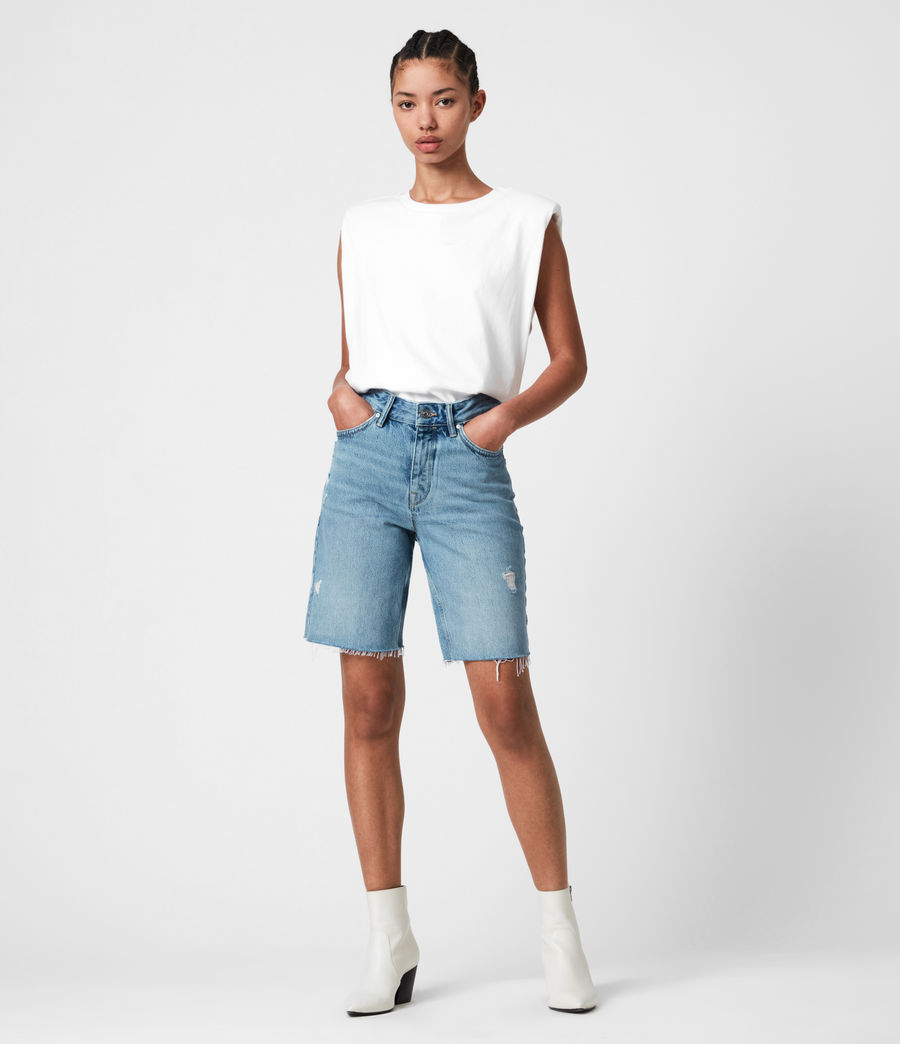 Women's Barry Long Denim Shorts (light_indigo) - Image 4