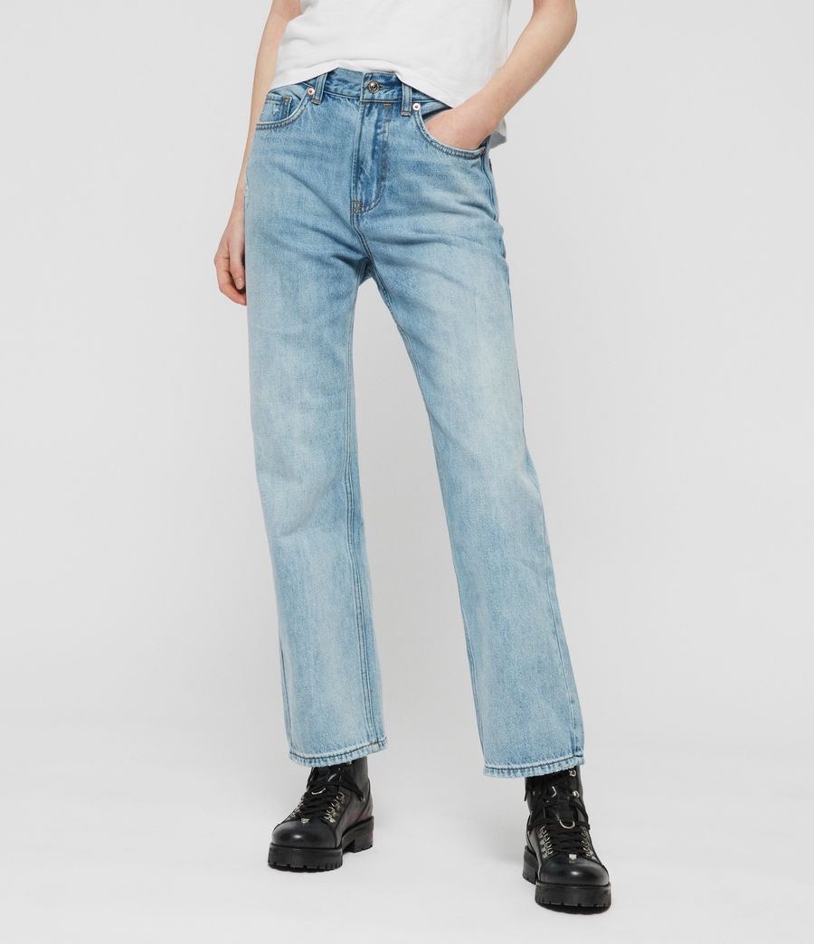 Women's Gem Boyfriend High-Rise Jeans, Light Indigo Blue (light_indigo_blue) - Image 1