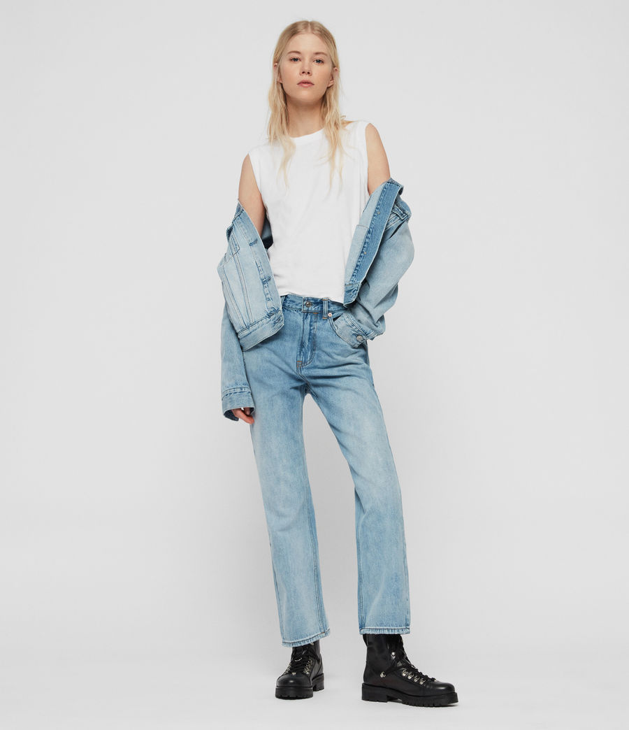 Women's Gem High-Waisted Boyfriend Jeans (light_indigo_blue) - Image 3