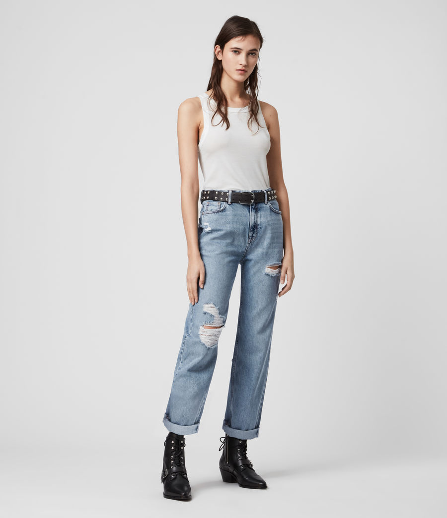 Mujer Ash Cropped High-Rise Distressed Boyfriend Jeans, Mid Indigo (mid_indigo) - Image 1