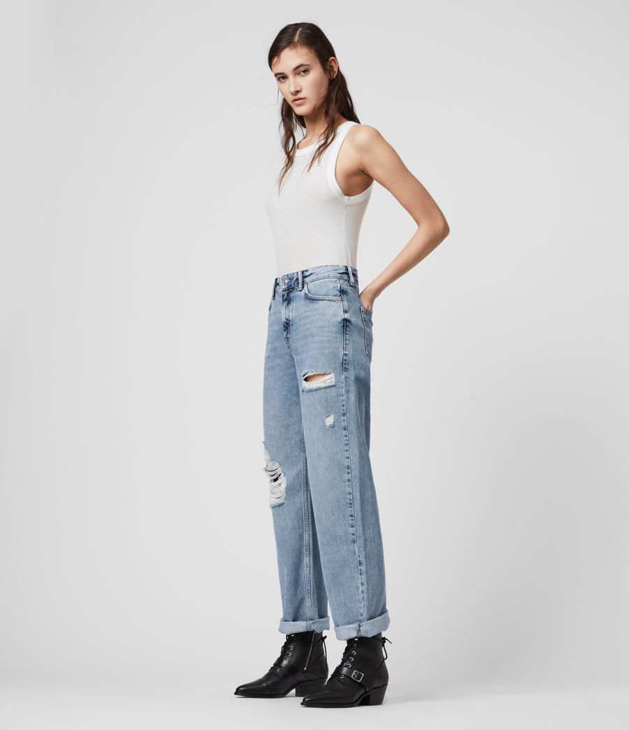 Mujer Ash Cropped High-Rise Distressed Boyfriend Jeans, Mid Indigo (mid_indigo) - Image 2