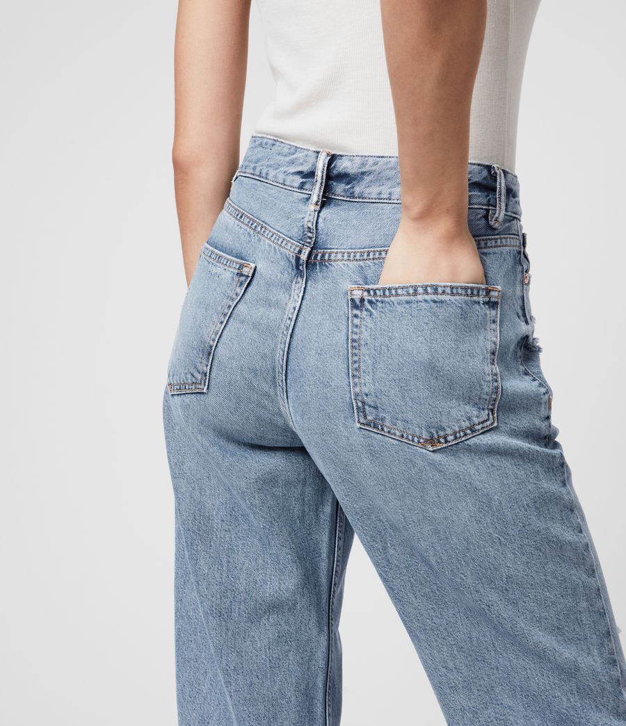 Mujer Ash Cropped High-Rise Distressed Boyfriend Jeans, Mid Indigo (mid_indigo) - Image 5
