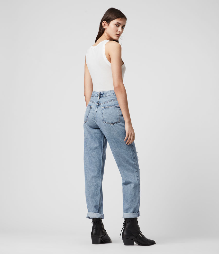 Mujer Ash Cropped High-Rise Distressed Boyfriend Jeans, Mid Indigo (mid_indigo) - Image 3