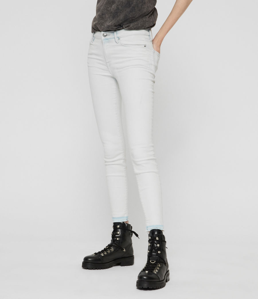 Womens Grace Cropped Skinny Mid-Rise Jeans, Bleach Indigo Blue (bleach_indigo_blue) - Image 2