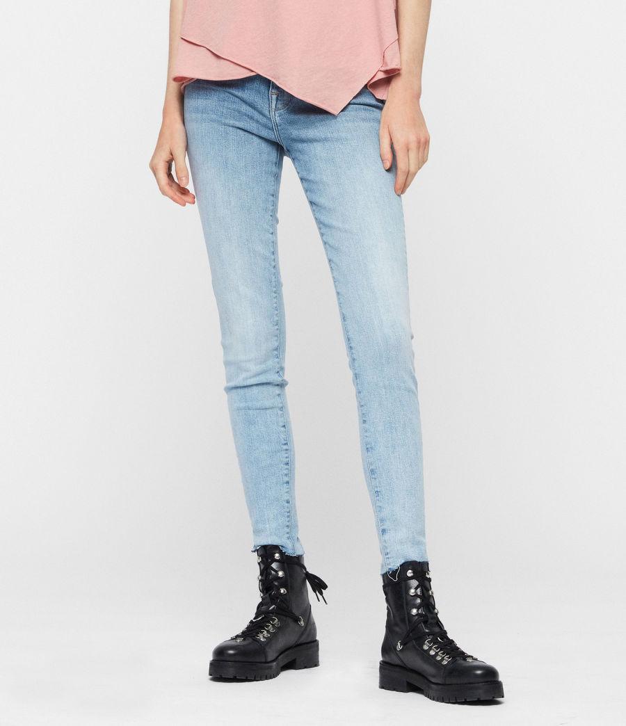 Womens Roxanne Cropped Skinny High-Rise Jeans, Light Indigo Blue (light_indigo_blue) - Image 1