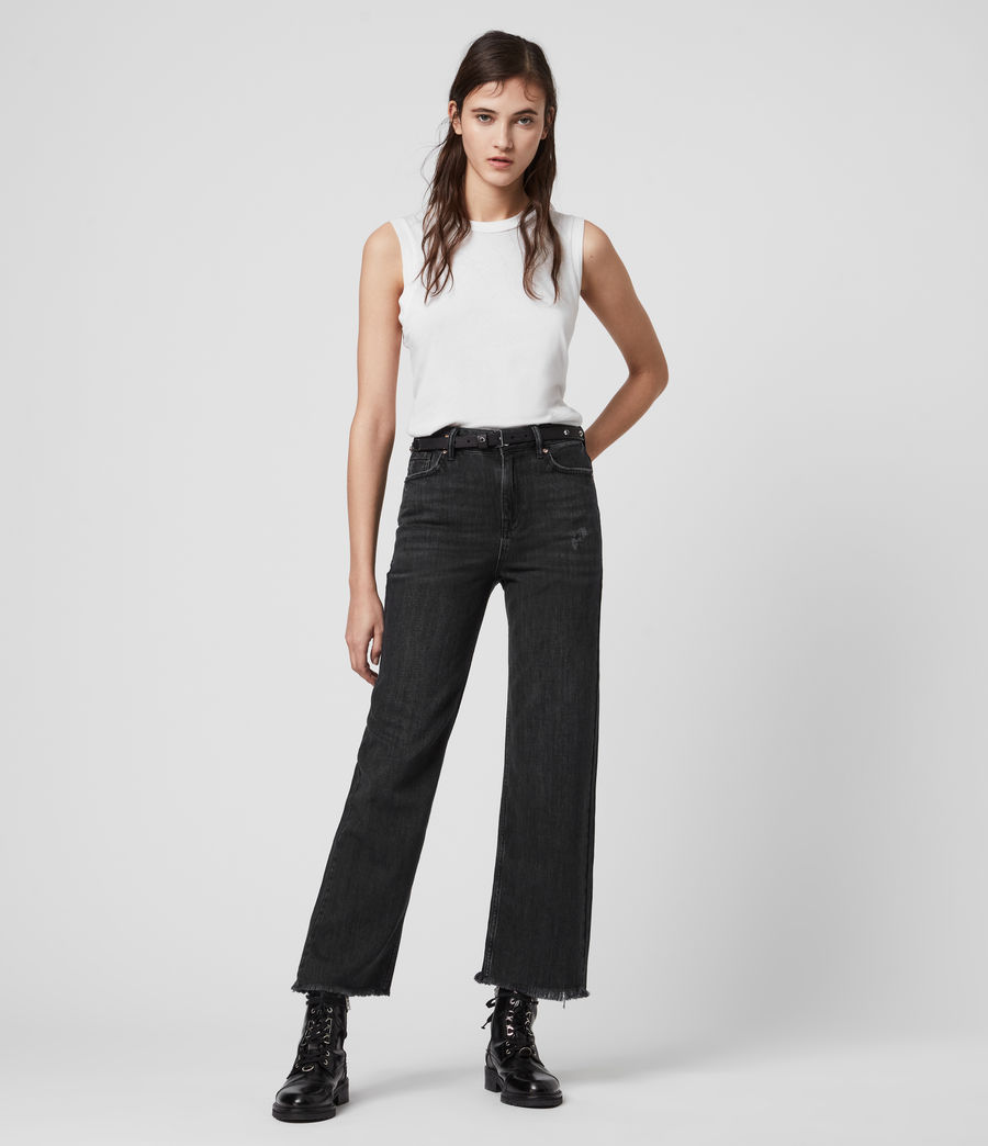 Women's Ash Cropped High-Rise Boyfriend Jeans, Washed Black (washed_black) - Image 1