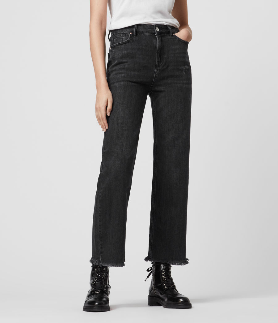Women's Ash Cropped High-Rise Boyfriend Jeans, Washed Black (washed_black) - Image 3