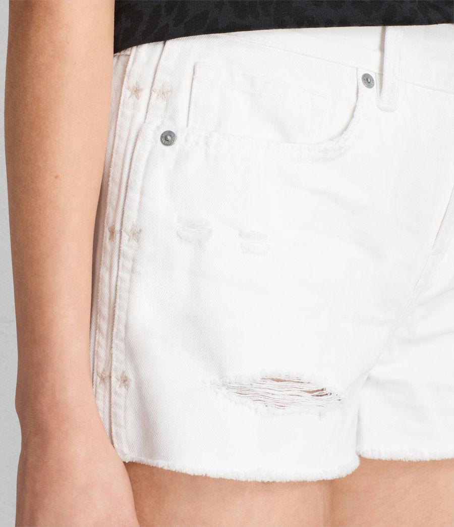 Womens Serene Embroidered Denim Shorts (white) - Image 2