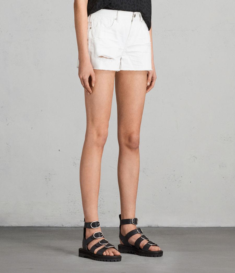 Womens Serene Embroidered Denim Shorts (white) - Image 3
