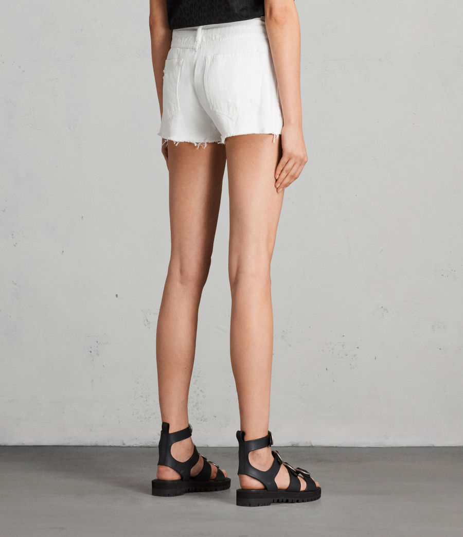 Womens Serene Embroidered Denim Shorts (white) - Image 4