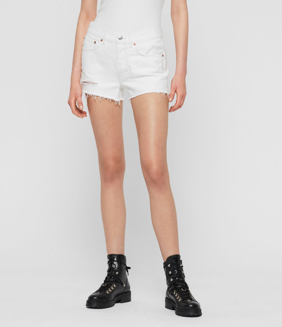 Womens Mai Destroyed High-Rise Denim Shorts (white) - Image 1