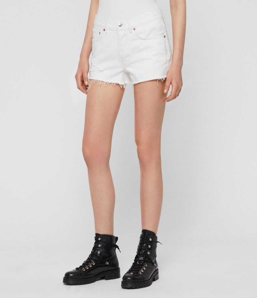 Womens Mai Destroyed High-Rise Denim Shorts (white) - Image 2