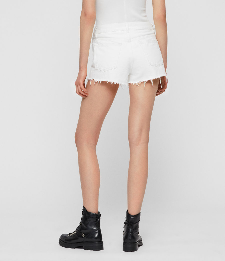Womens Mai Destroyed High-Rise Denim Shorts (white) - Image 3