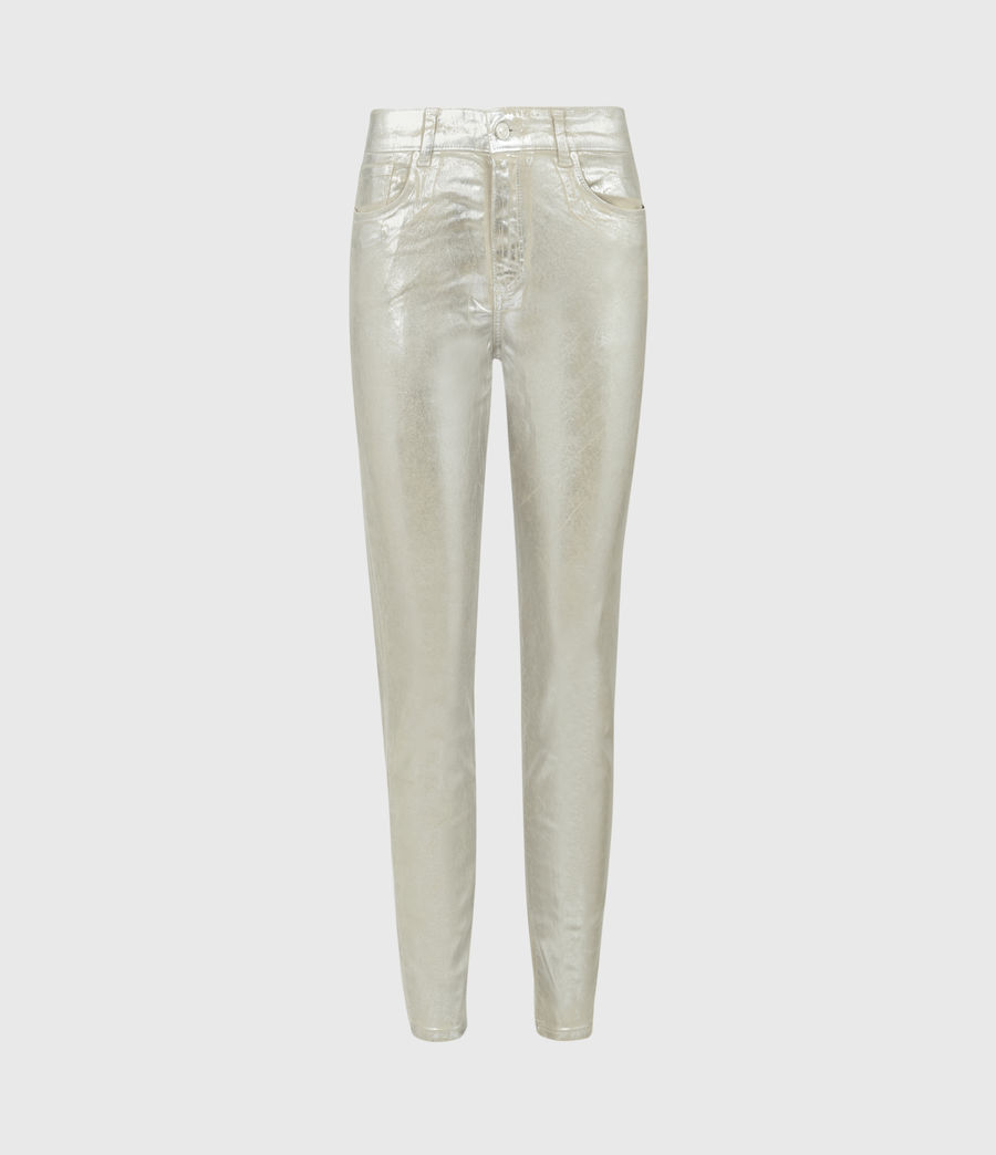 Womens Miller Mid-Rise Foil Jeans, Silver (silver) - Image 1