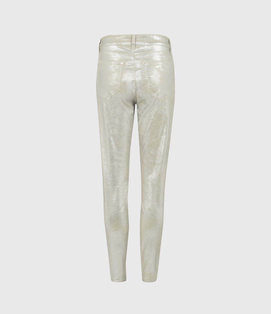 Womens Miller Mid-Rise Foil Jeans, Silver (silver) - Image 2