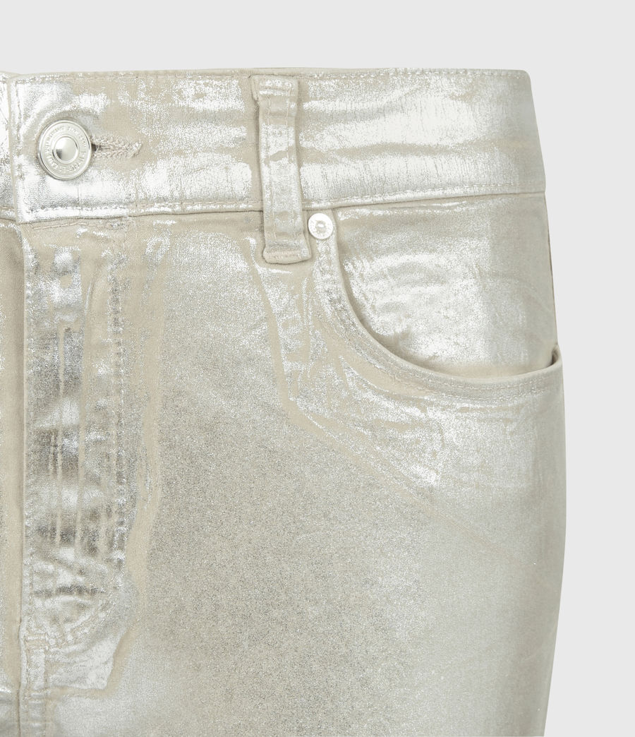 Womens Miller Mid-Rise Foil Jeans, Silver (silver) - Image 3