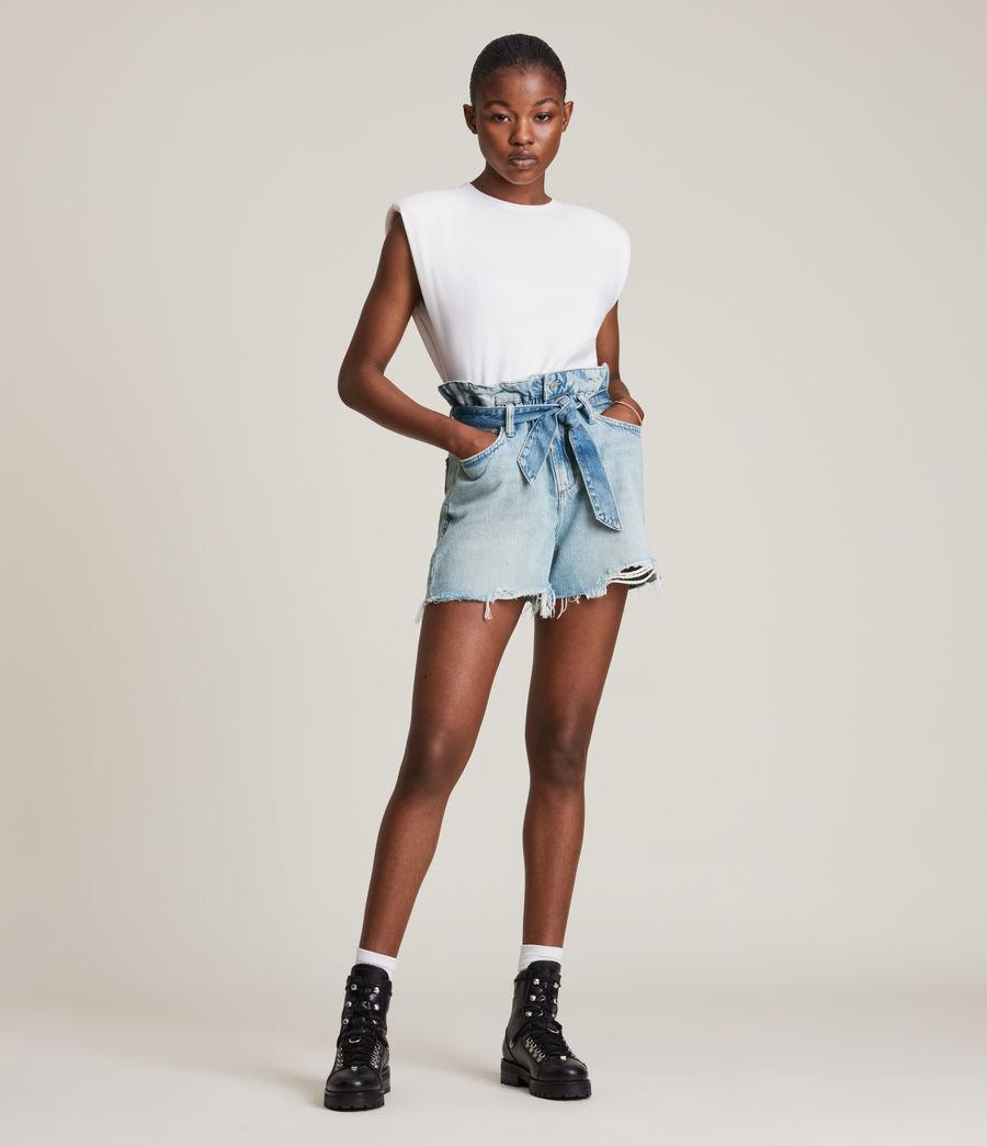 Femmes Hannah Paperbag Denim Shorts (mid_indigo) - Image 1