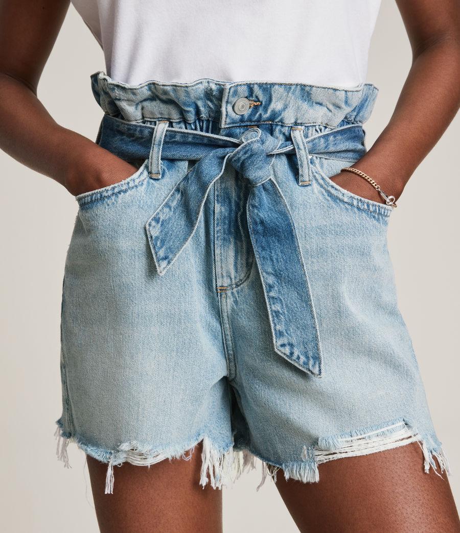 Femmes Hannah Paperbag Denim Shorts (mid_indigo) - Image 3