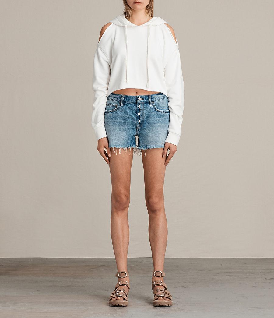 Womens Button Boy Shorts (mid_indigo_blue) - Image 1