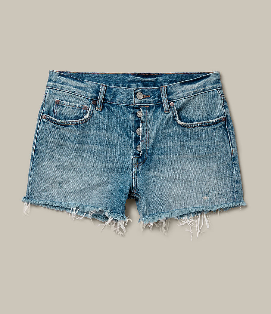 Womens Button Boy Shorts (mid_indigo_blue) - Image 2