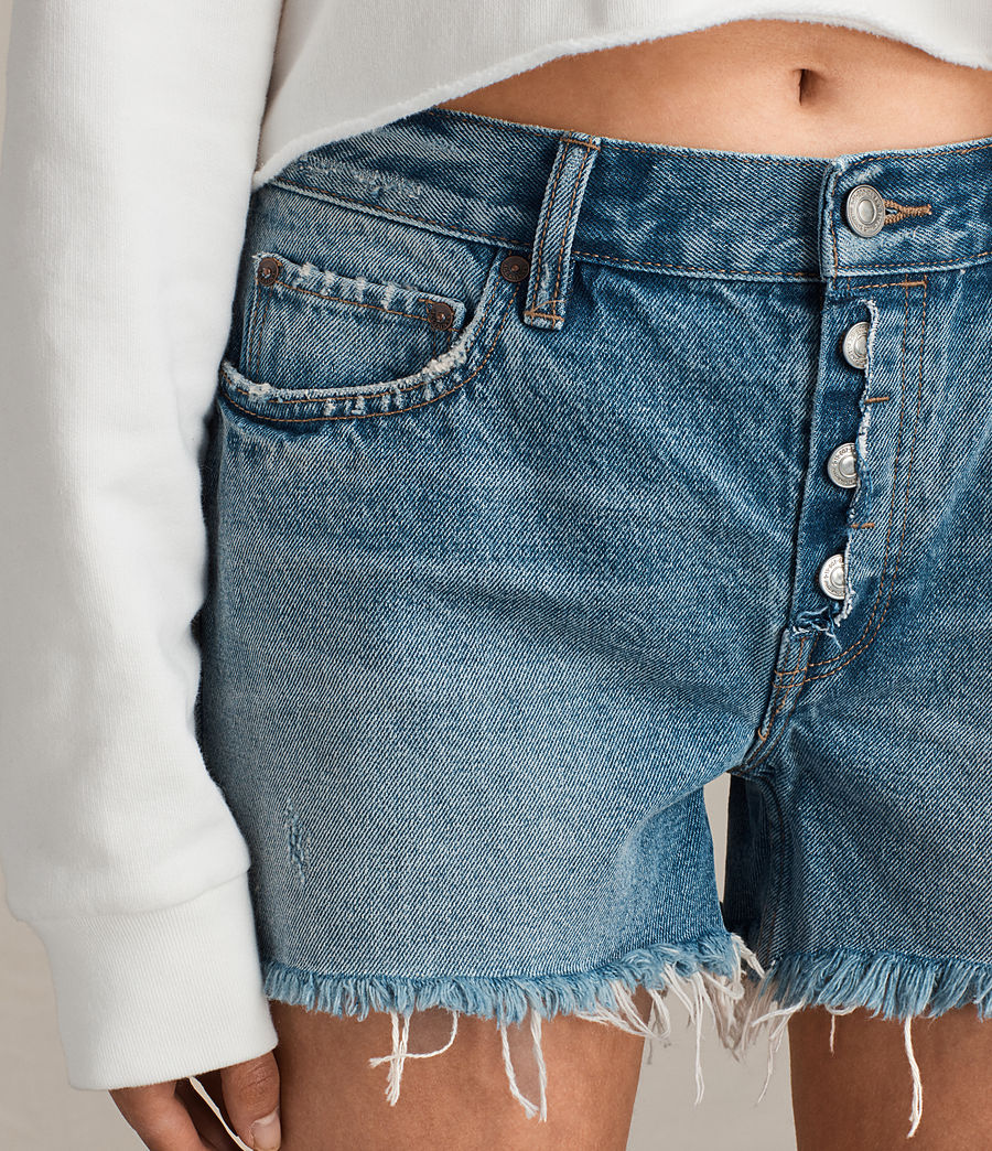 Womens Button Boy Shorts (mid_indigo_blue) - Image 3