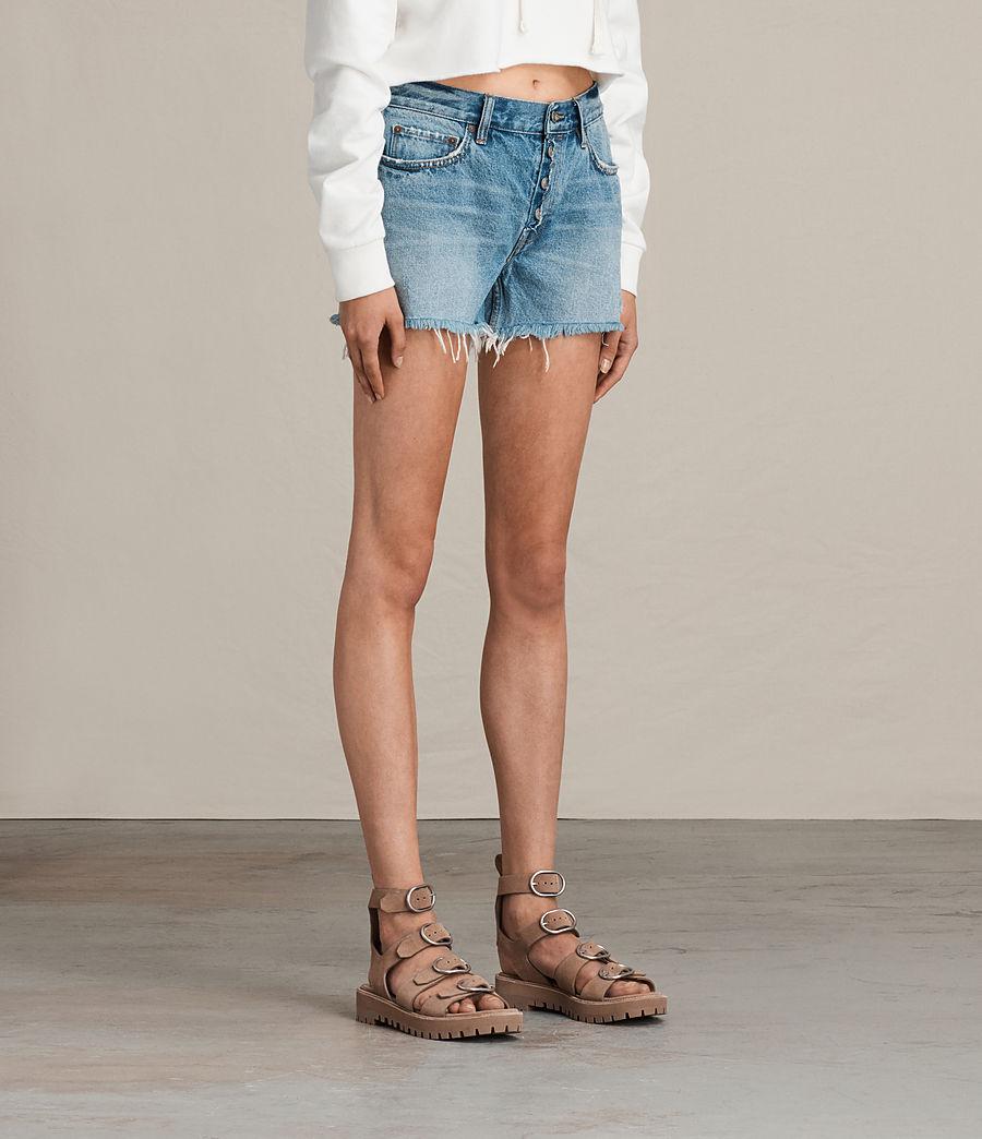 Womens Button Boy Shorts (mid_indigo_blue) - Image 4