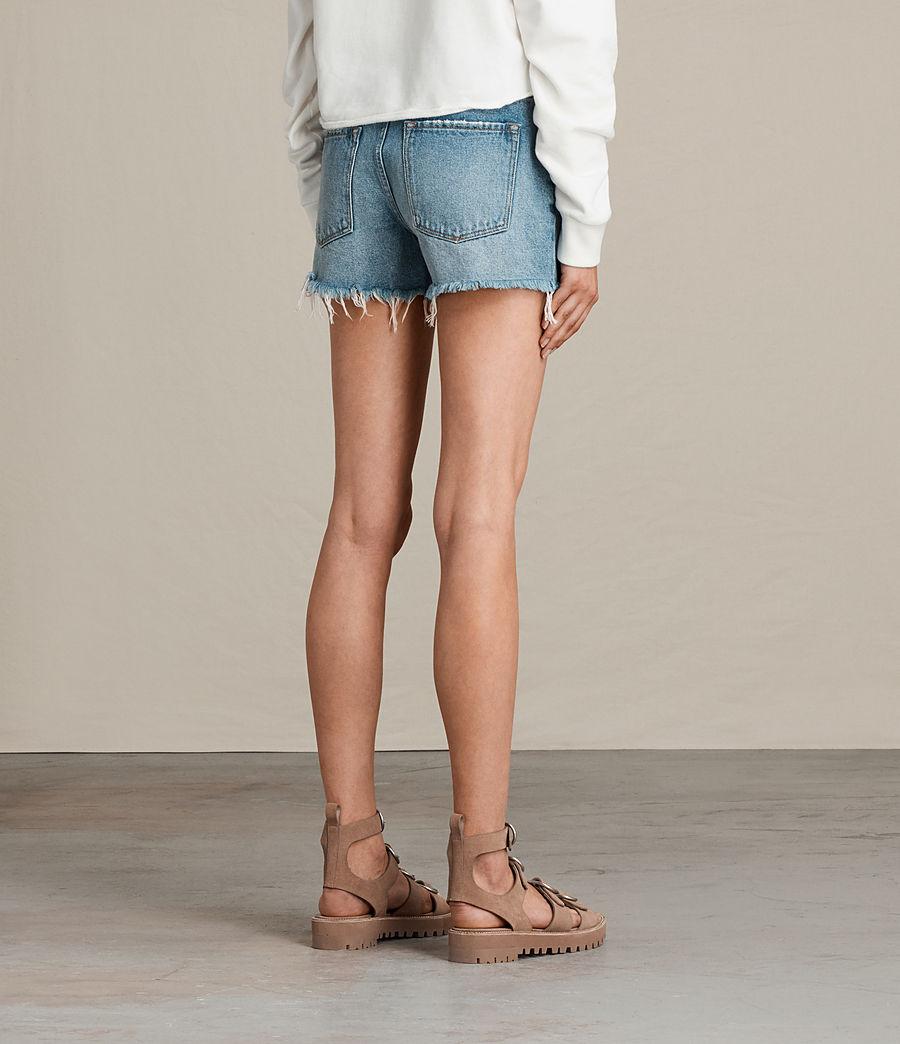 Womens Button Boy Shorts (mid_indigo_blue) - Image 5