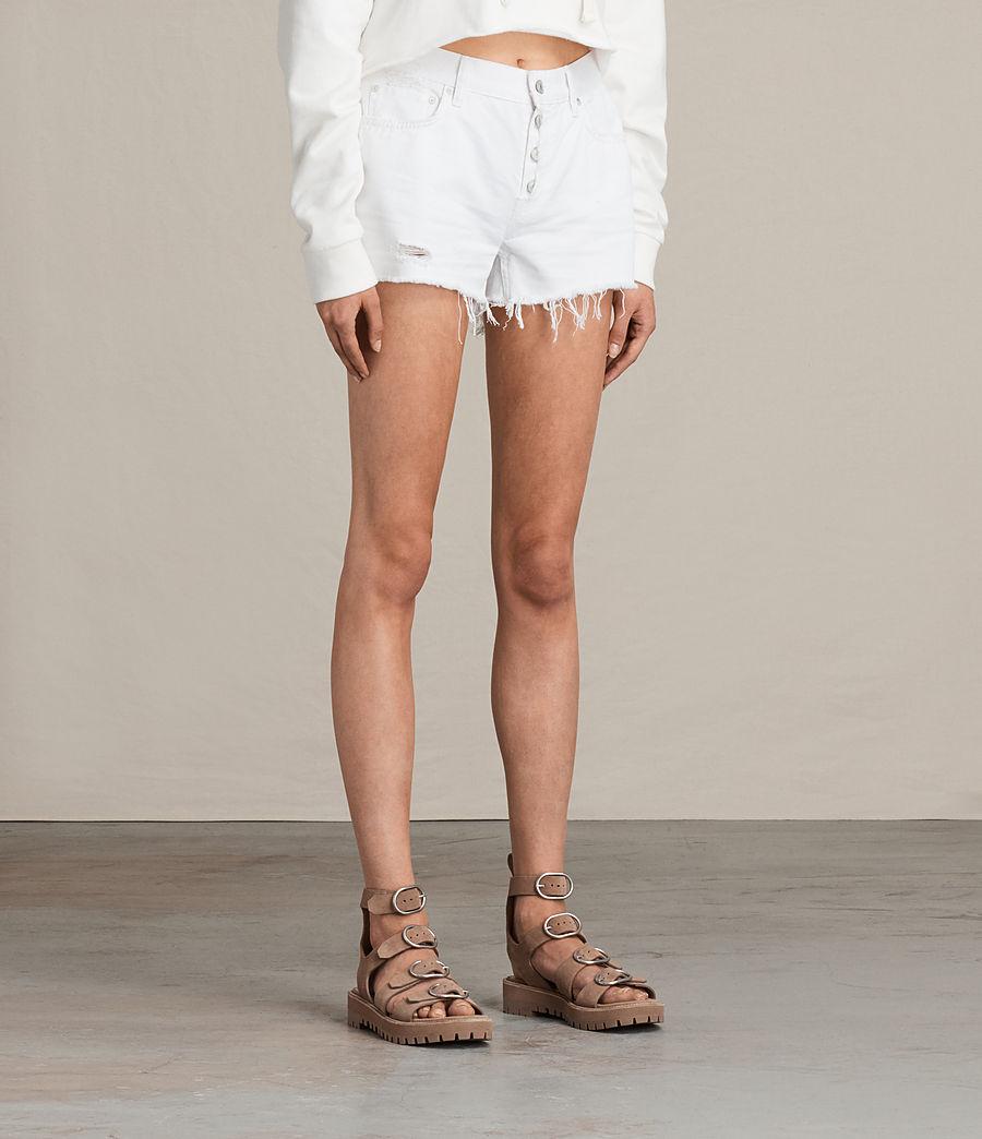 Women's Button Boy Shorts (white) - Image 4