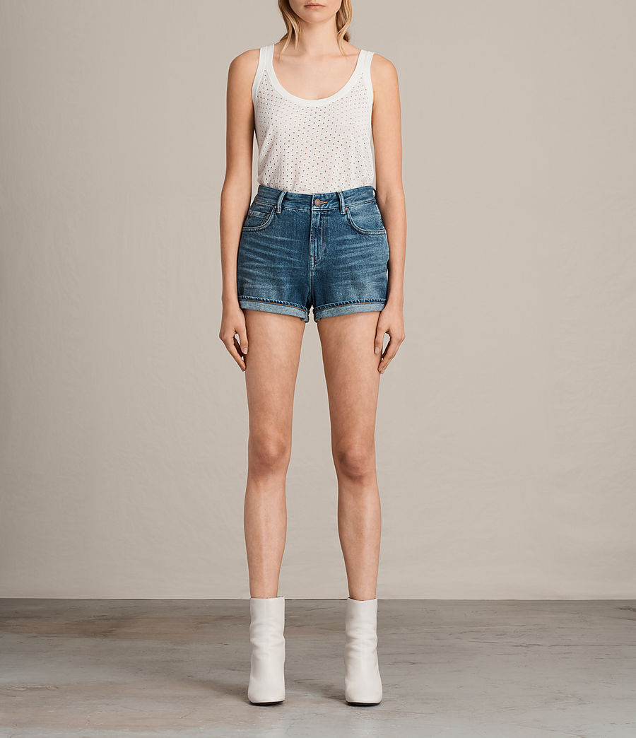 Damen Helena High Waist Denim Shorts (indigo_blue) - Image 1