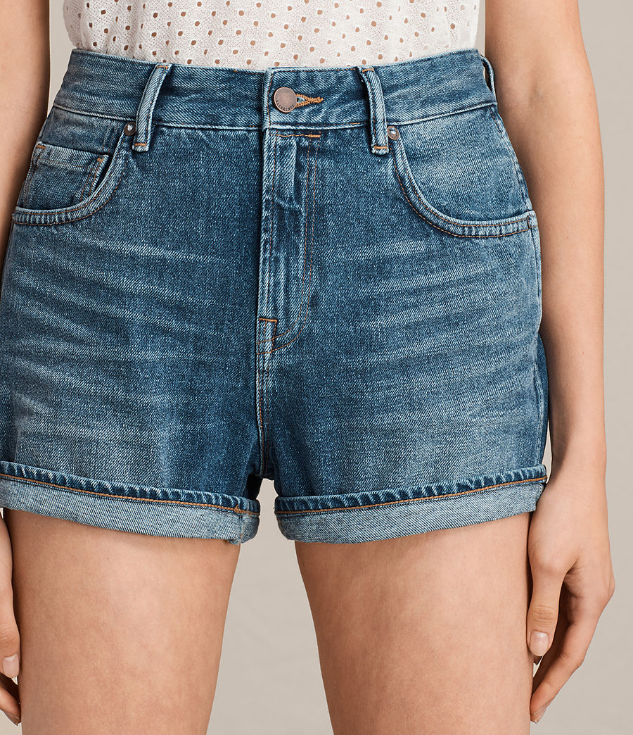 Damen Helena High Waist Denim Shorts (indigo_blue) - Image 2