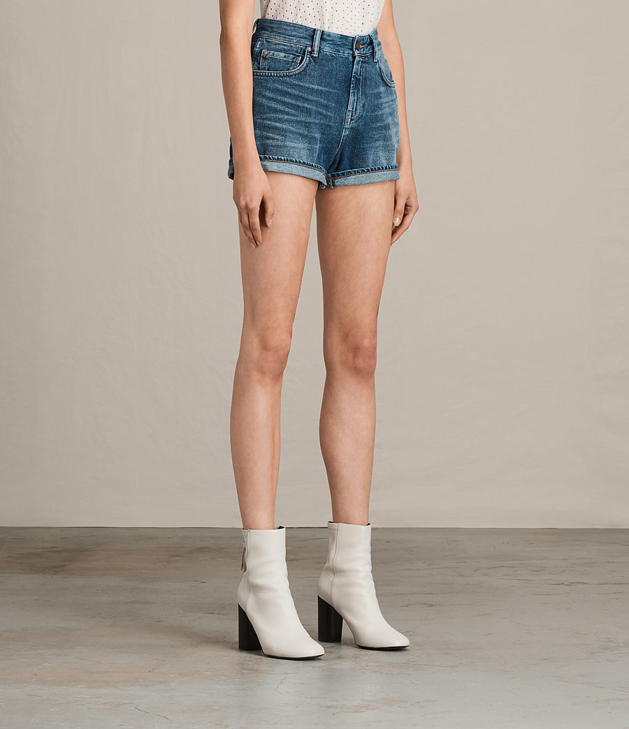 Damen Helena High Waist Denim Shorts (indigo_blue) - Image 3