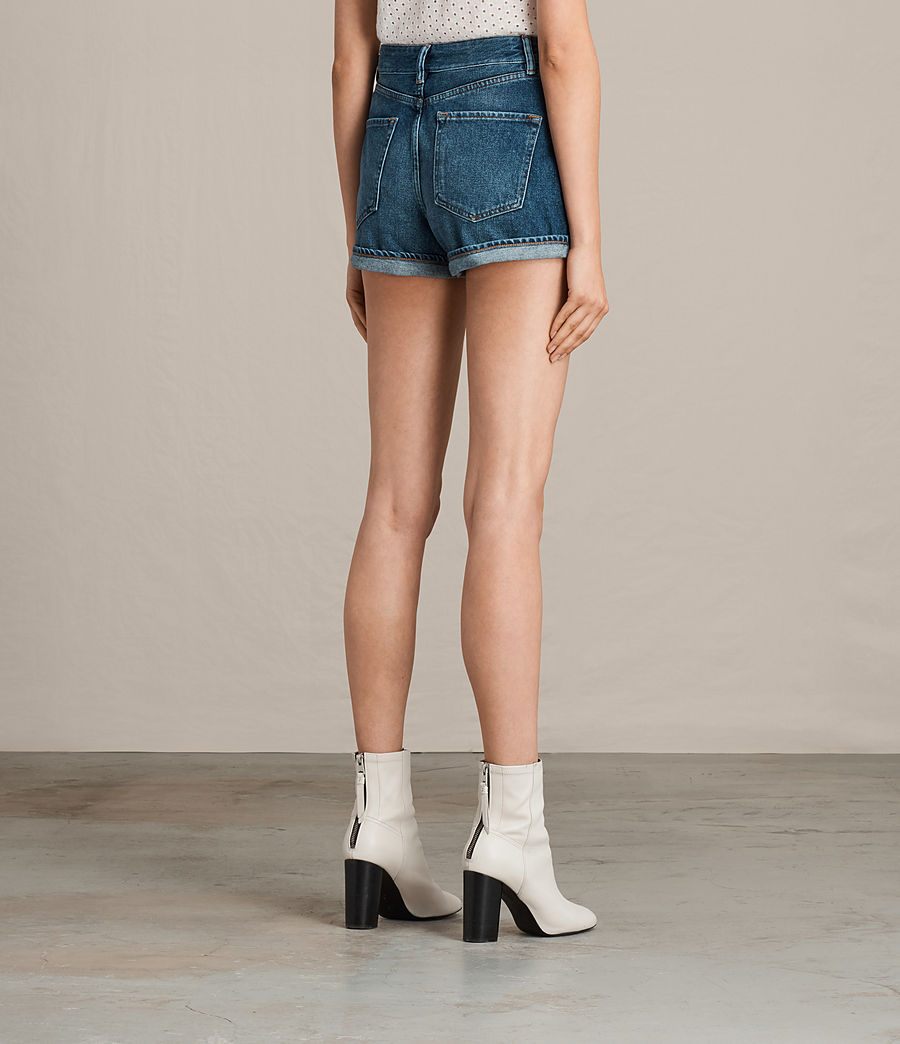 Damen Helena High Waist Denim Shorts (indigo_blue) - Image 4