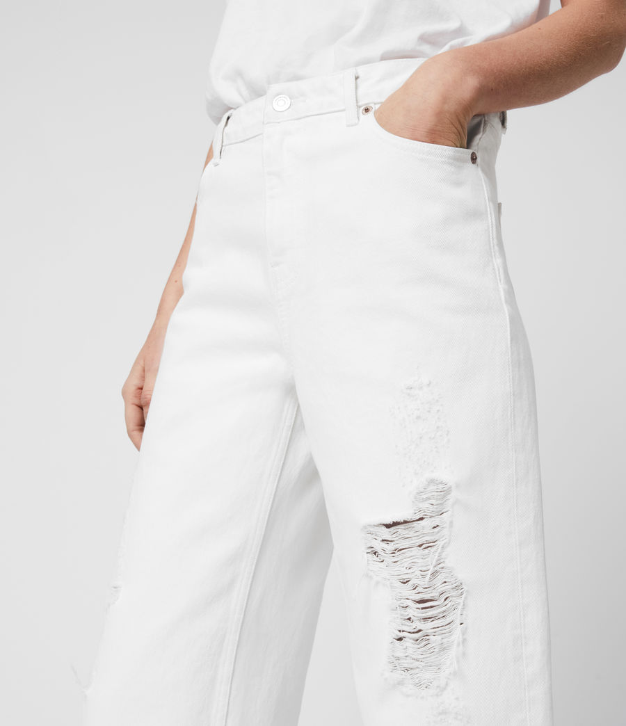 Womens Ash Cropped High-Rise Distressed Boyfriend Jeans, White (white) - Image 1