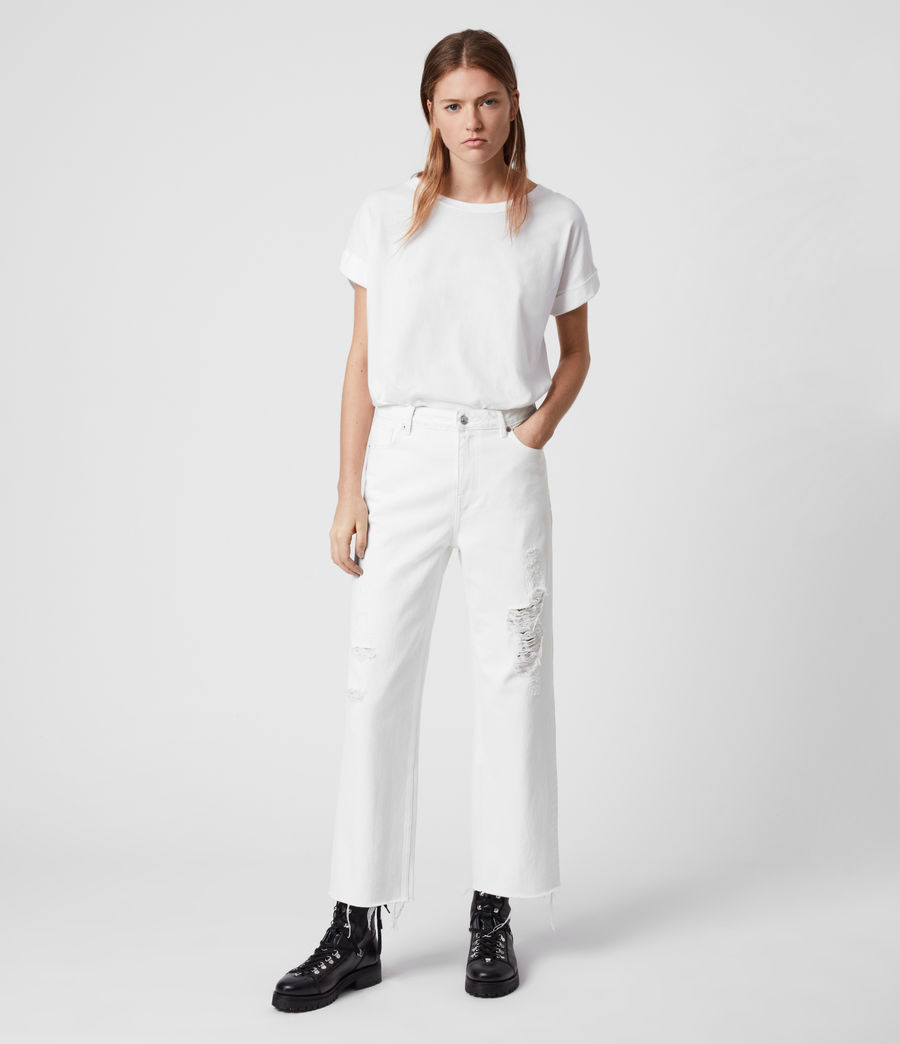 Womens Ash Cropped High-Rise Distressed Boyfriend Jeans, White (white) - Image 2