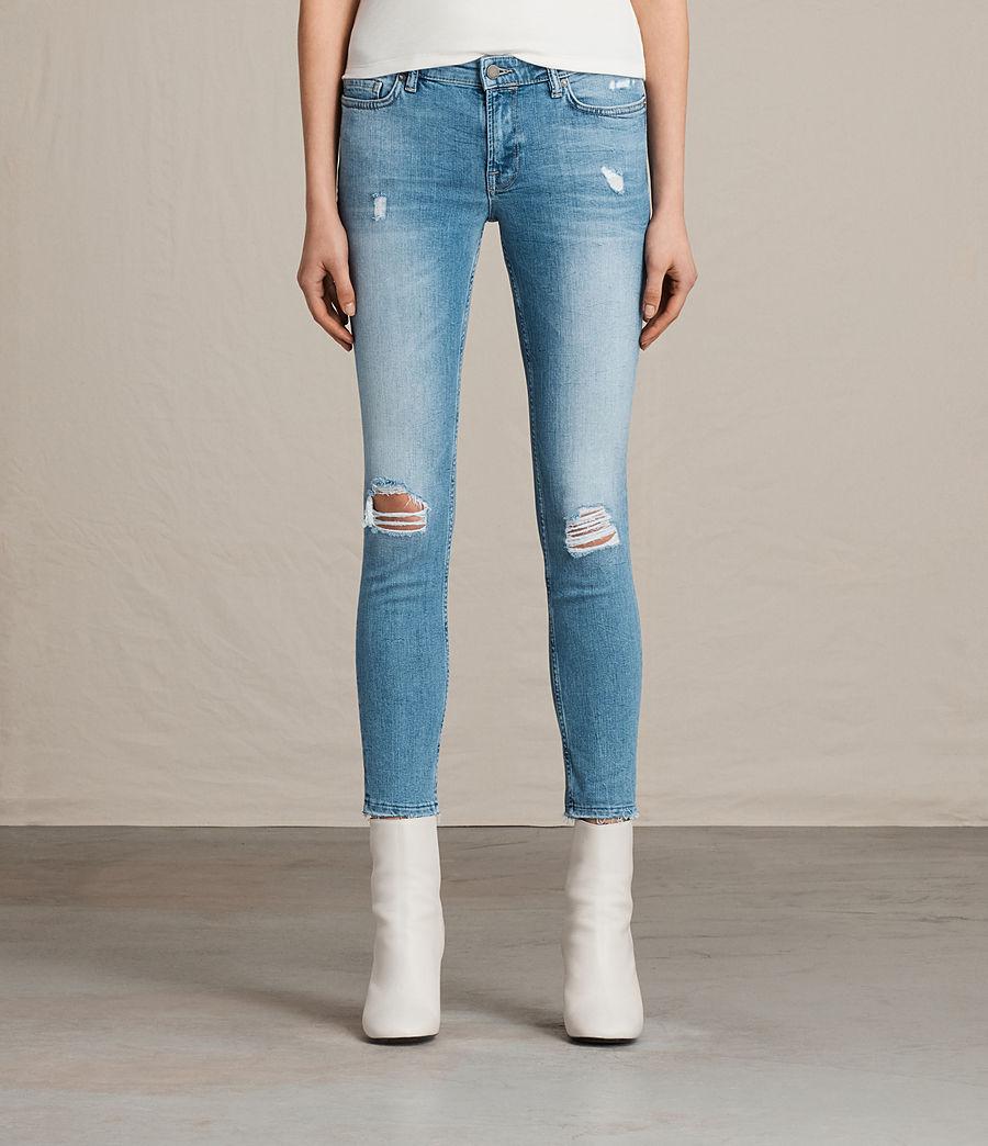 Women's Mast Ankle Destroy Jeans (mid_indigo_blue) - Image 1