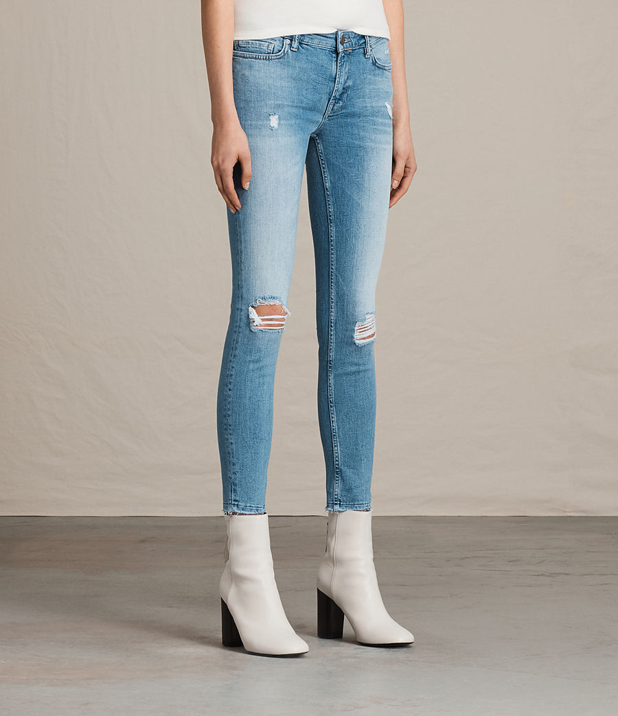 Women's Mast Ankle Destroy Jeans (mid_indigo_blue) - Image 3