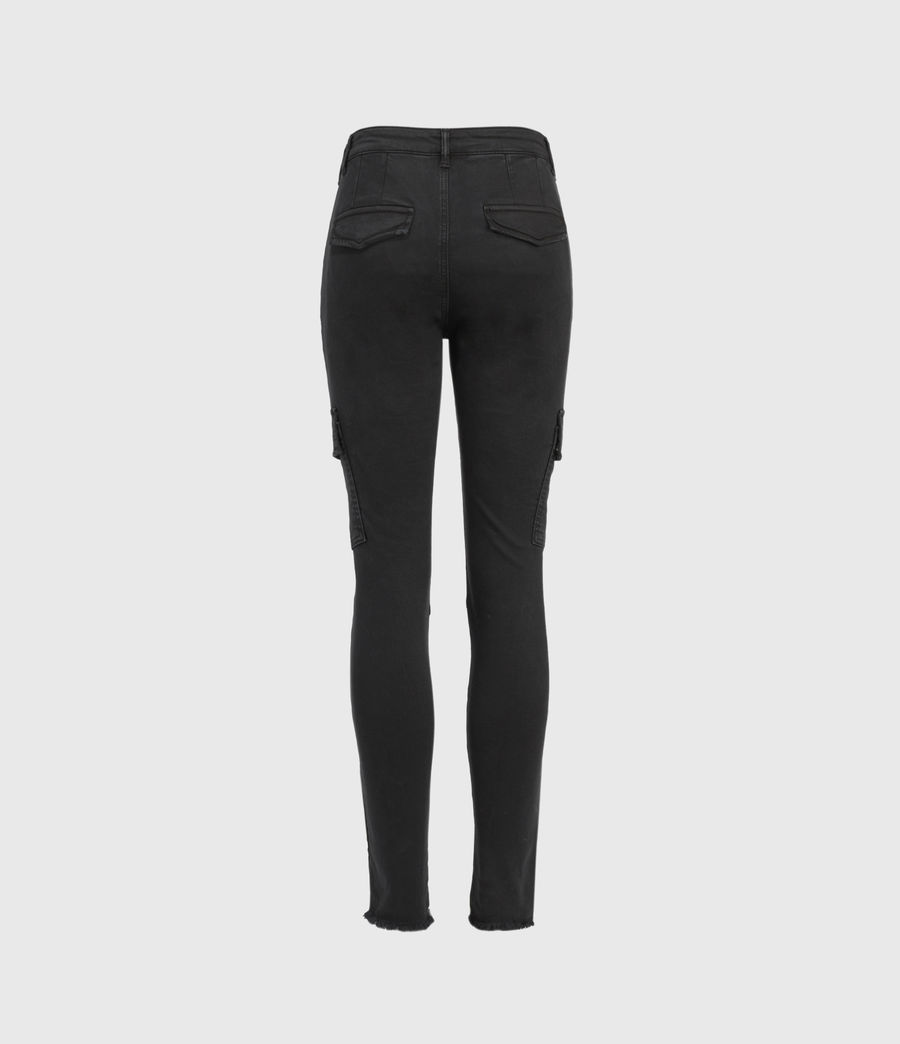 Womens Duran Mid-Rise Superstretch Skinny Cargo Jeans, Black (black) - Image 3