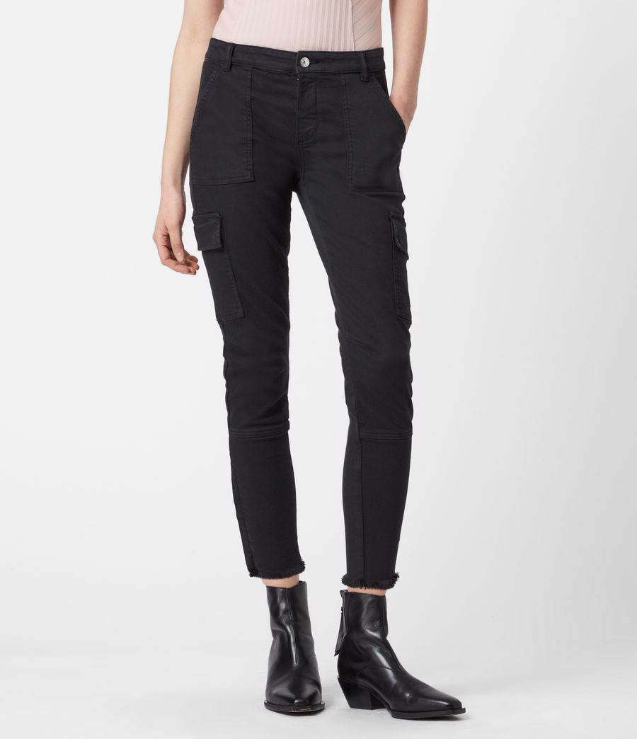 Womens Duran Mid-Rise Superstretch Skinny Cargo Jeans, Black (black) - Image 4