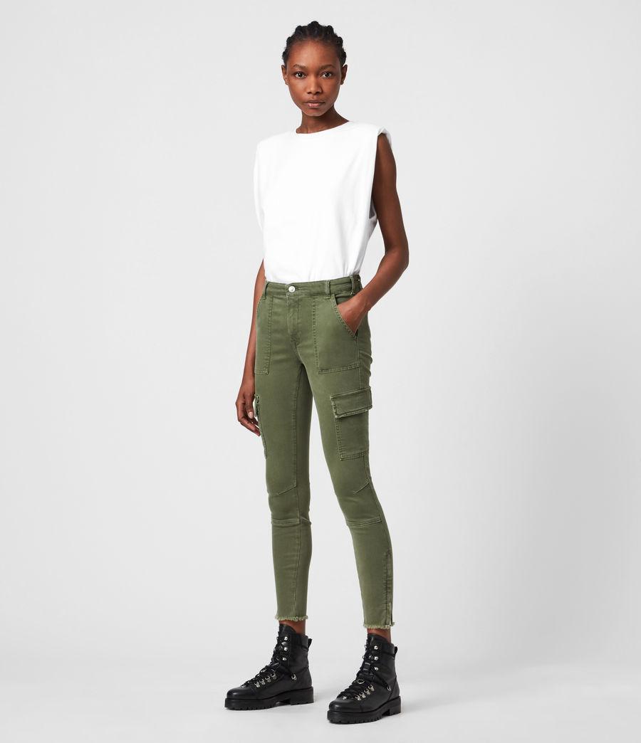 Womens Duran Mid-Rise Skinny Cargo Jeans, Khaki Green (khaki_green) - Image 1