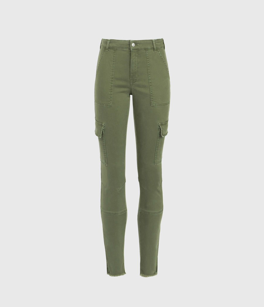 Womens Duran Mid-Rise Skinny Cargo Jeans, Khaki Green (khaki_green) - Image 2