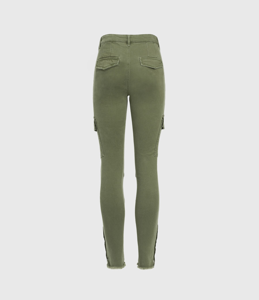 Womens Duran Mid-Rise Skinny Cargo Jeans, Khaki Green (khaki_green) - Image 3