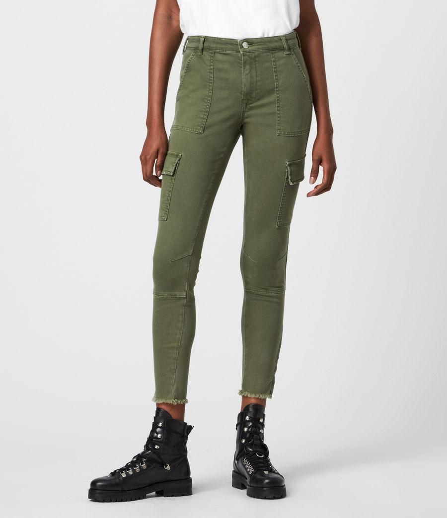 Womens Duran Mid-Rise Skinny Cargo Jeans, Khaki Green (khaki_green) - Image 4