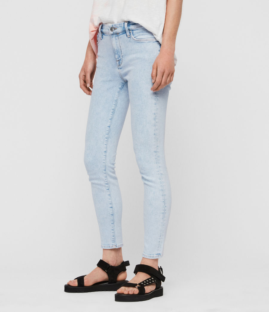 Womens Grace Cropped Skinny Mid-Rise Jeans, Snow Blue (snow_blue) - Image 2